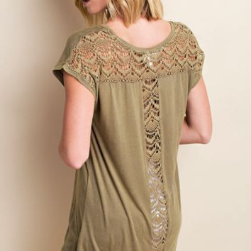 LLove Washed Back Crochet Tee Soft Top - Olive