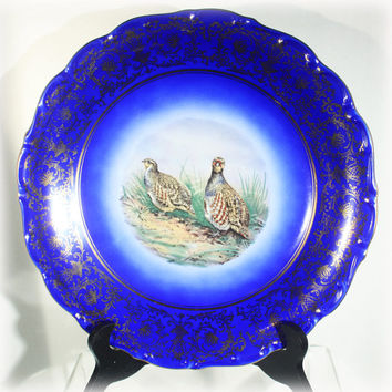 Schumann China Plate, Arzberg Germany, Royal Cobalt Blue, Gold Leaf, Quail Birds, Scenic Print, Transfer Print, Fine China, Early 1900s