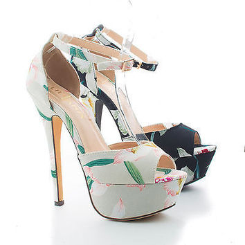 Helena103 Beige Fabric By Liliana, Floral Print D'orsay Peep Toe Platform Stiletto Heels