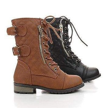 Mango79K By Link, Children Girls Mid Calf Quilted Back Buckle Lace Up Combat Boots
