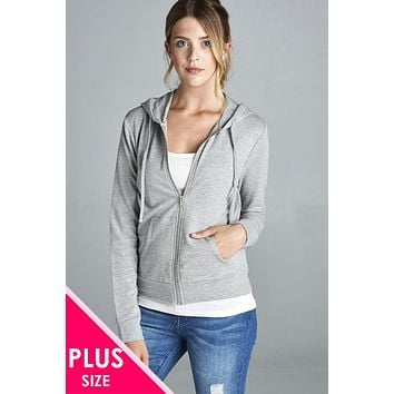 Ladies fashion plus size long sleeve zipper french terry jacket w/kangaroo pocket