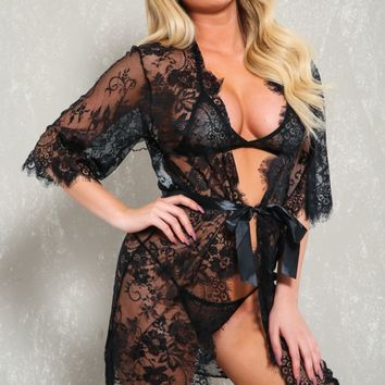 Sexy Black Satin Sash Three Piece Robe