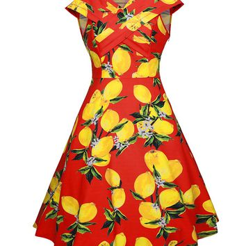 Casual Retro Style V-Neck Fruit Lemon Printed Plus Size Skater Dress