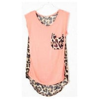 Hi,Showme — Leopard Patchwork Sleeveless Chiffon Blouse
