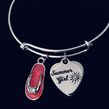 Pink Flip Flop Summer Girl Expandable Charm Bracelet  Nautical Beach Jewelry Vacation One Size Fits All Gift