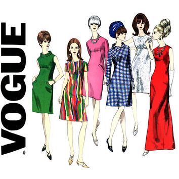 1960s A Line Dress Pattern Bust 34 Vogue 1679 Formal Maxi or Cocktail Length Collar Variations High Waist Womens Vintage Sewing Patterns