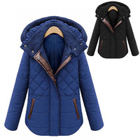 New Fashion Women's Winter Fleece Hooded Cotton Padded Coat Warm Thicken Outwear Cotton Coat - Available 2 Great Colors!