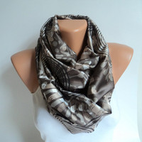 Brown infinity scarf/ Loop scarf/Satin scarf/Scarves women/ Circle scarf/Ready to shipping.