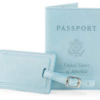 Aniline Passport/Luggage Tag, Sky BlueABAS