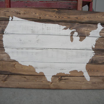 United States on Wood Slats - Wood Art - Painting - Patriotic, Americana