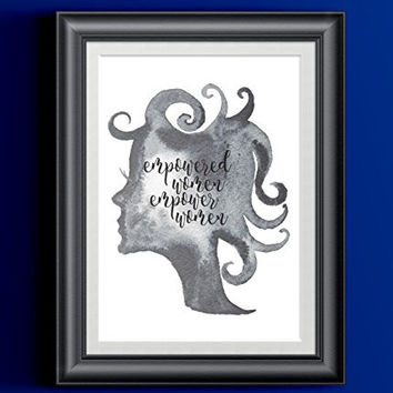 Empowered Women Empower Women Silhouette | Feminist Black White Typography Art Print