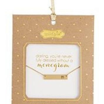 Mud Pie-Chelsea Initial Bar Necklace