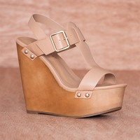 Breckelles Renew You Buckled Ankle Strap Platform Wedge Sandals Emily-42 - Nature