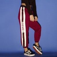 Fashion Casual Side Multicolor Letter Stripe Loose Leisure Pants Trousers Women Harlan Pants Sweatpants