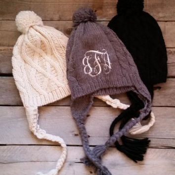 Gray Cable Knit Pom Pom Hat with coral FREE Monogram Gray Ivory Black