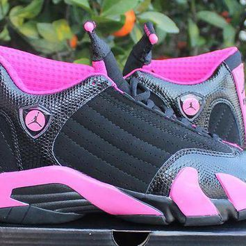 ONETOW VAWA Womens Air Jordan 14 High Ferrari Basketball Shoes Black Pink