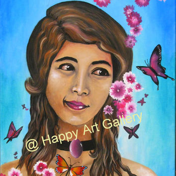 Fantasy girl portrait butterflies flowers Original Acrylic Painting PRINT wall decor