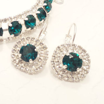 SWAROVSKI CRYSTAL EARRINGS, halo crystal, emerald, green, bridal, 8mm, stunning, jackie kennedy