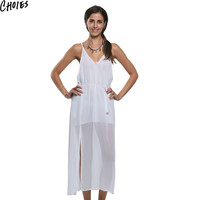 Women 2 Colors Tied Waist Backless Sexy Side Split Maxi Chiffon Beach Dress New Summer Plunge V Neck Empire Long Clothing