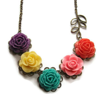 Flower Necklace Bright Summer Colors Brass by TheBonnyBoutique