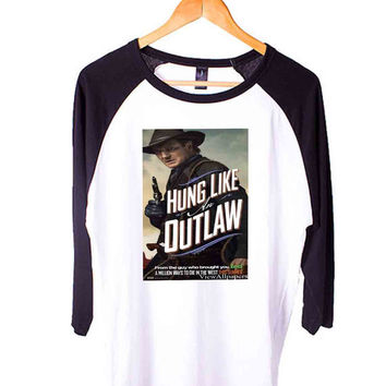 A Million Ways to Die in the West Hung Like Outlaw Short Sleeve Raglan - White Red - White Blue - White Black XS, S, M, L, XL, AND 2XL*AD*