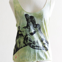 Giraffe Face Animal Style Tank Top Green Dyed by sinclothing on Etsy $15.99
