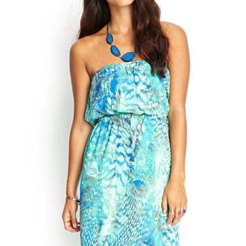 Contemporary Strapless Abstract Dress