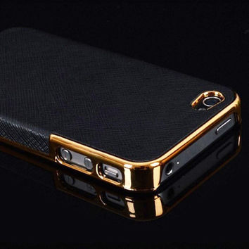 iPhone 5 5S  Frame Luxury Leather Chrome Hard Back Case Cover For iPhone 5 5S Black Gold Silver Hot Pink Purple Brown
