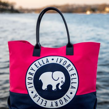 June Red and Navy Surprise Beach Tote