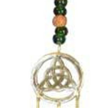 Triquetra W- Green Beads Wind Chime