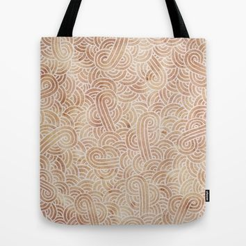 Iced coffee and white zentangles Tote Bag by Savousepate