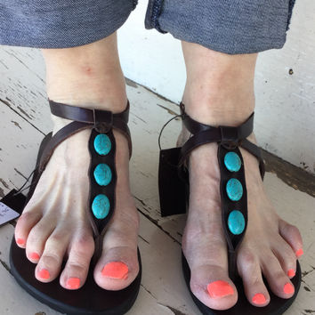 Turquoise Beaded Sandal
