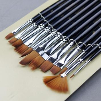 Art Supplies 12 pcs different shape gouache watercolor brush