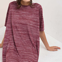 Slub Knit Burgundy Pocket Dress