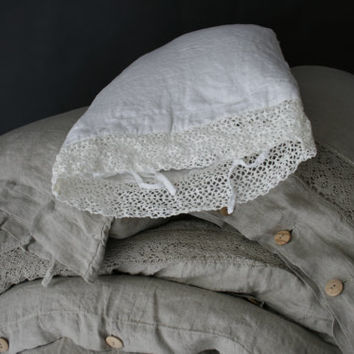 Linen duvet cover with wooden buttons  linen bedding ,stonewashed  made by mooshop