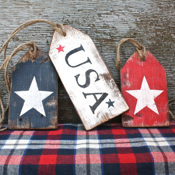 FREE SHIP USA Wood Tags Patriotic Memorial Day Decor Rustic Distressed Wood Large Tag Sign Set