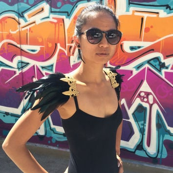 Black and Gold or Silver Fleur de Lis Feather Epaulettes Festival, Rave, Burning Man statement shoulder jewelry