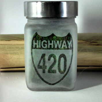 Highway 420 Etched Glass Stash Jar - 420 Gift - Birthday Gift for Smokers - Medical Marijuana & Recreational Marijuana Stash Jars