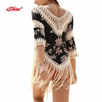 Pareo crochet beach cover up tassel for bikini set bathing suit beach swimsuit coverups sexy hollow beach blouse Saida de Praia