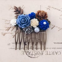 Blue Hair Comb Periwinkle Blue Brown Ivory Cream Cornflower Blue Nature Inspired Wedding Bridal Hair Slide Headpiece Floral Hair Pin Modern