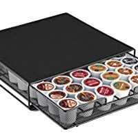 "Halter Mesh Drawer Single Serve Coffee Pod Holder - Heat Resistant - Holds 36 Coffee Pods / K-Cups - 13"" X 12.25"" X 2"""