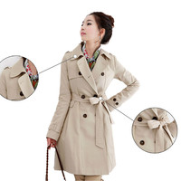 HOT! Womens Korean long Jacket Double-breasted Lapel Belt Trench Coat Overcoats
