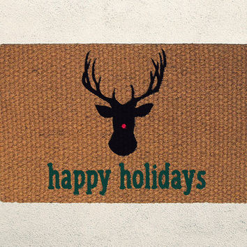 Happy Holidays Christmas Reindeer Doormat – Hand Painted Coir Outdoor Rug  – Welcome Mat - Home Decor, Holiday Decor, Christmas Decor
