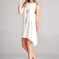 Loose Fitted High Low Keyhole Dress