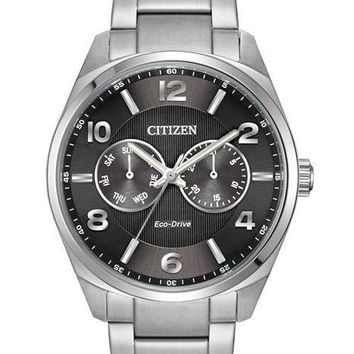 Citizen Eco-Drive Mens Analog Day/Date Watch - Black Dial - Stainless Bracelet