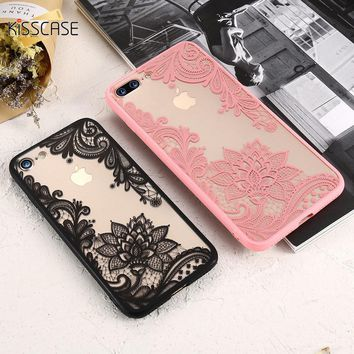 KISSCASE Phone Case For iPhone 5S iPhone 7 Plus Case Luxury Girly Lace Flowers TPU Cover For iPhone 6 6s Plus iPhone 7 Case