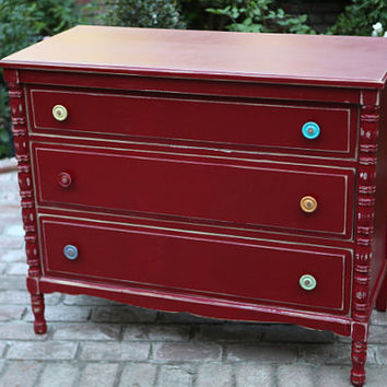 Vintage Red Dresser with multi colored handles - so anthropologie