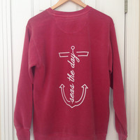 Seas The Day Long-Sleeve Anchor Crewneck Sweatshirt