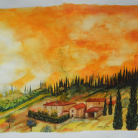 "LARGE Italian Landscape ART Painting Original Watercolor Landscape ""TUSCANY"" Italy"