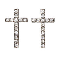 Rhinestone Cross Button Earring | Shop Jewelry at Wet Seal